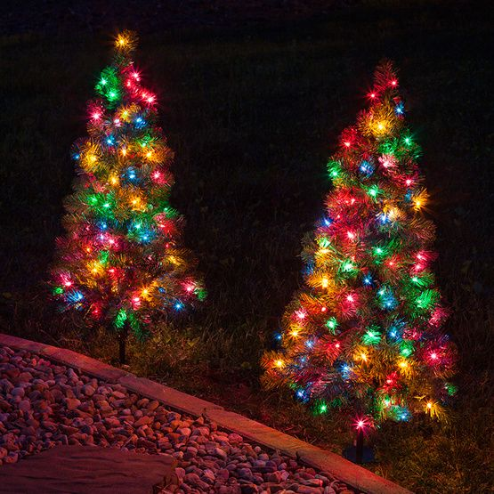 2 walkway pre lit winchester fir tree 50 multicolored lamps