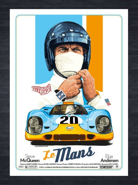 McQueen Le Mans Competition Car Race Poster
