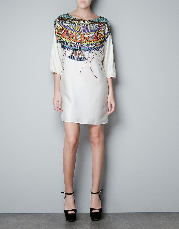 zara tunic with printed neckline, oh oh oh!