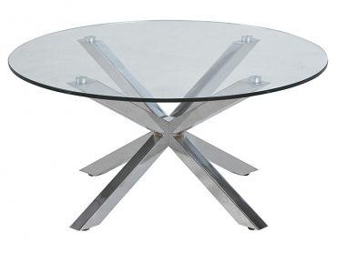 Konferenční stolek skleněný Zoe, 82 cm, čirá / chrom
