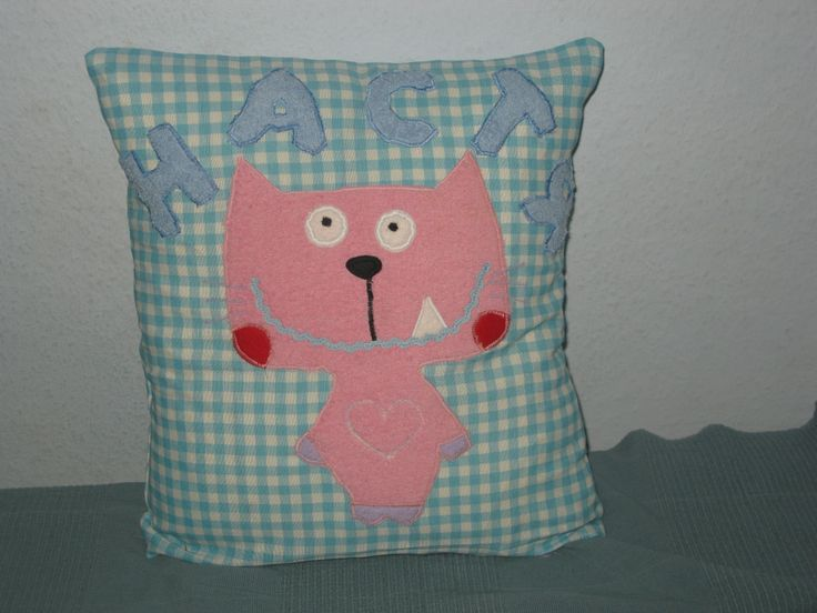 © Anna Galkina. Cushion with applique #sewing #crafts #kids