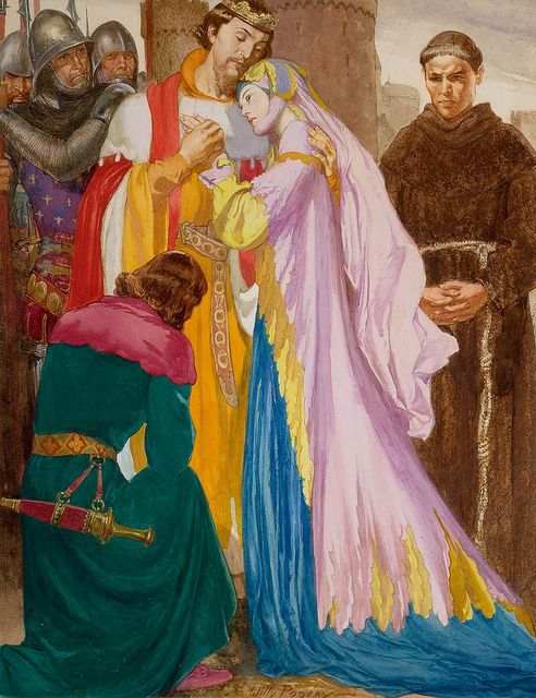 """Willy Pogany """"Bowing to Royalty"""" by Art & Vintage, via Flickr. His color taste is very different from mine, but I really like his sense of composition and emotion."""