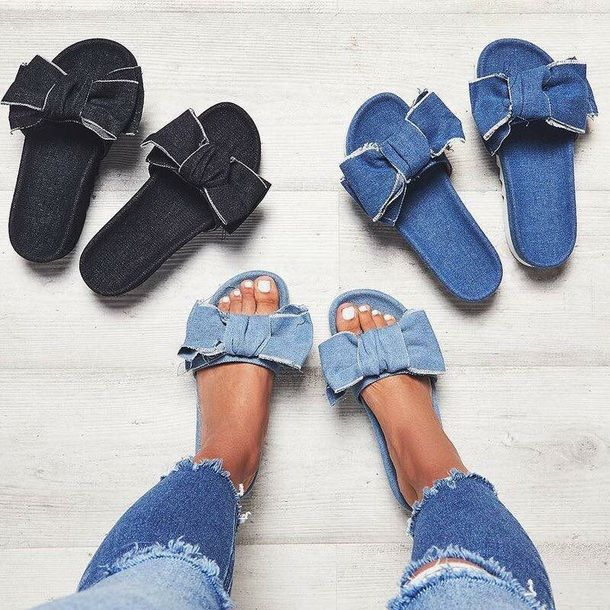$25 EGO Multicoloured Denim Black Dark Blue Light Blue Denim Jean Bow Detail Slip On Sandals Perfect Retro Style Summer Shoe Trends Tumblr