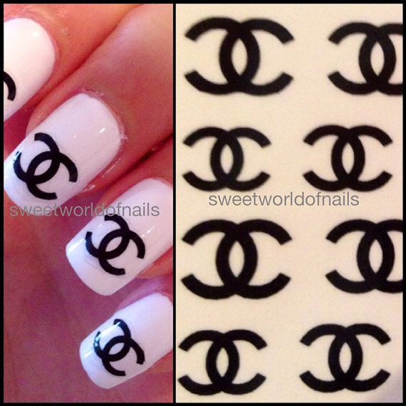 Celebrity nail art water decals transfers chanel logo brands logo on etsy 1
