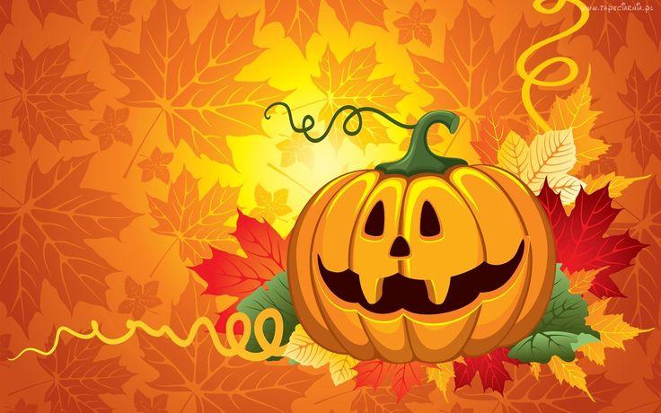 Dynia, Liście, Halloween, Grafika