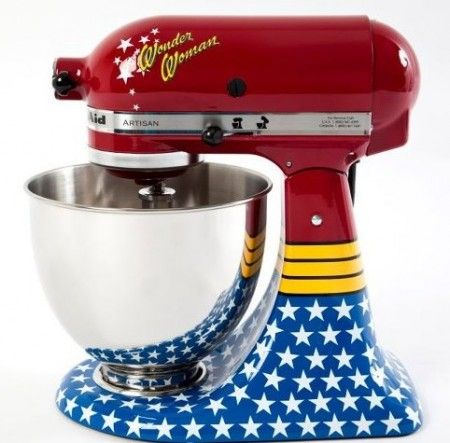 If my husband wouldn't kill me, I totally would get this Wonder Woman Kitchen Aid mixer. Epic product FTW!