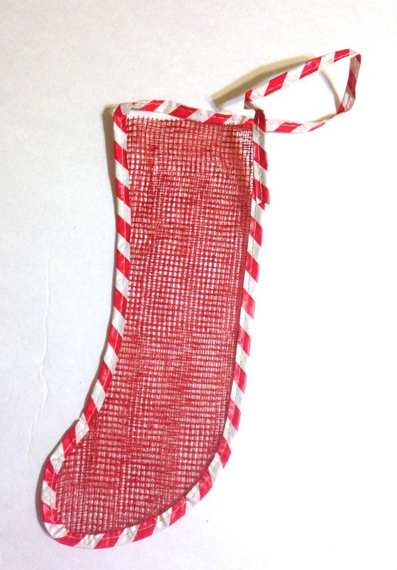 Retro christmas stocking red mesh netting clever and old for Fashion christmas stockings