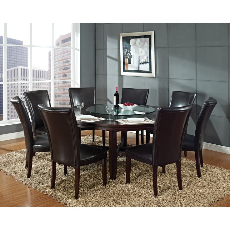 Steve Silver 7 Piece Hartford Large Round Dining Table Set