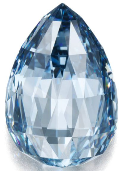 On Nov. 14 at Sotheby's Geneva, a 10.48 ct. fancy, deep blue briolette diamond fetched 1.036 million dollars a carat—a world record per-carat price for a deep blue stone. #diamond #Sothebys