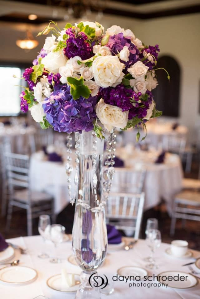 Dayna Schroeder Photography. Vale of Enna flowers. Hydrangea. Rose. Lisianthus. Stock. Spray Rose. Scented Geranium. Purple, White, Ivory, Cream, and Green. Centerpiece. Chicago Wedding.
