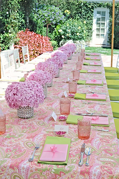 Summer Party - Hydrangeas...pinks & greens. Love the pink hydrangeas in jeweled vases! merrylbrownevents.com
