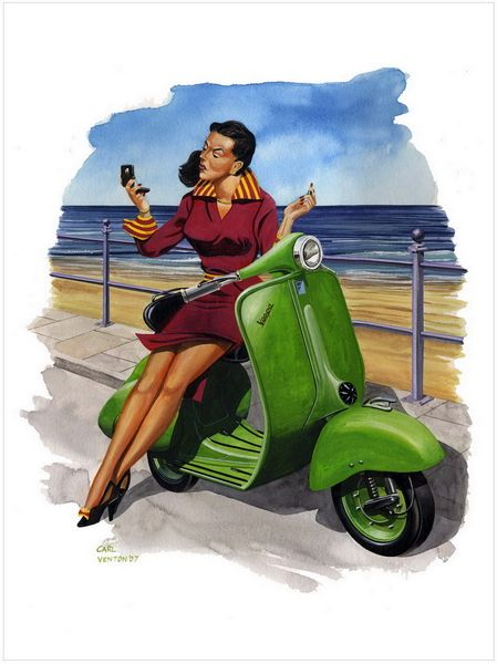 "003CV013 - Vintage Vespa 2  16"" x 12"" Print Only £12.99 9.5"" x 6.5"" Mounted to 14"" x 11"" - £12.99"