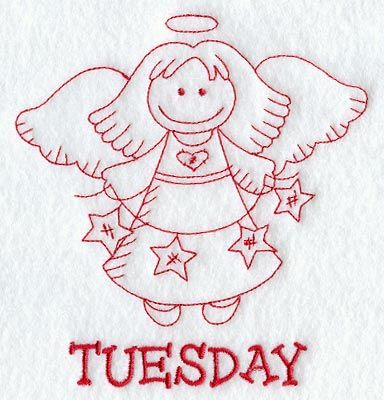 Heavenly Angel on Tuesday (Redwork)