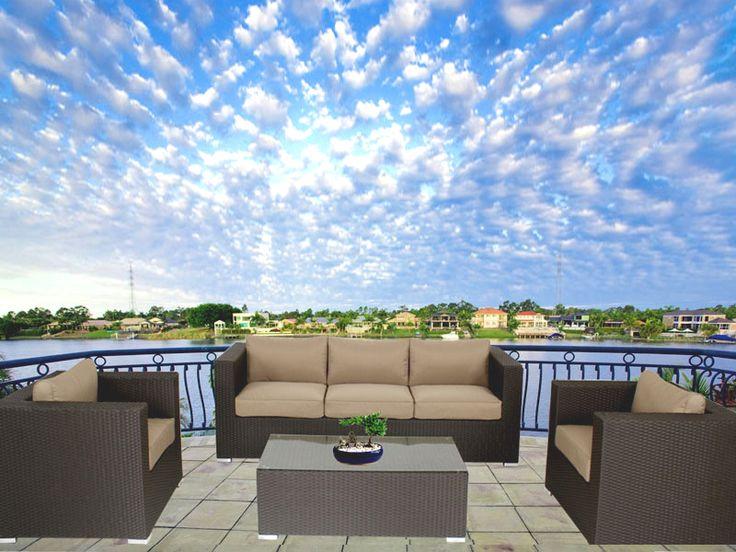 Brown Brighton Balcony Outdoor Lounge Suite
