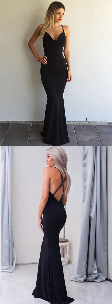 2017 Black Sleeveless Sexy Spaghetti-Strap Cross-Back Mermaid Prom Dress prom,prom dress,prom dresses,sexy prom dress,2017 prom dress