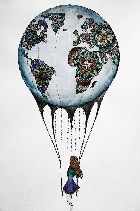 Original Watercolor Artwork Air Balloon Earth World Zentangle