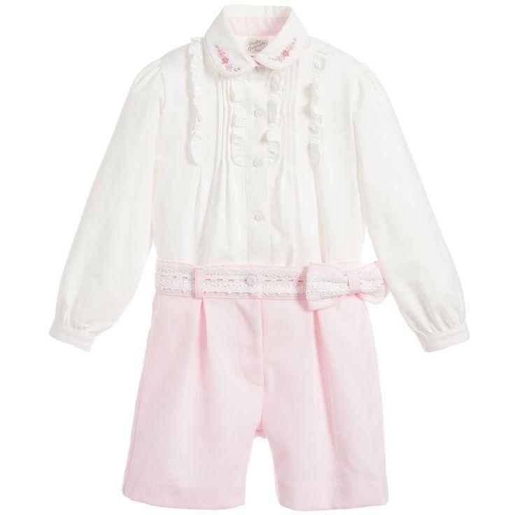 Pretty Originals Girls Ivory & Pink Shorts Set at Childrensalon.com