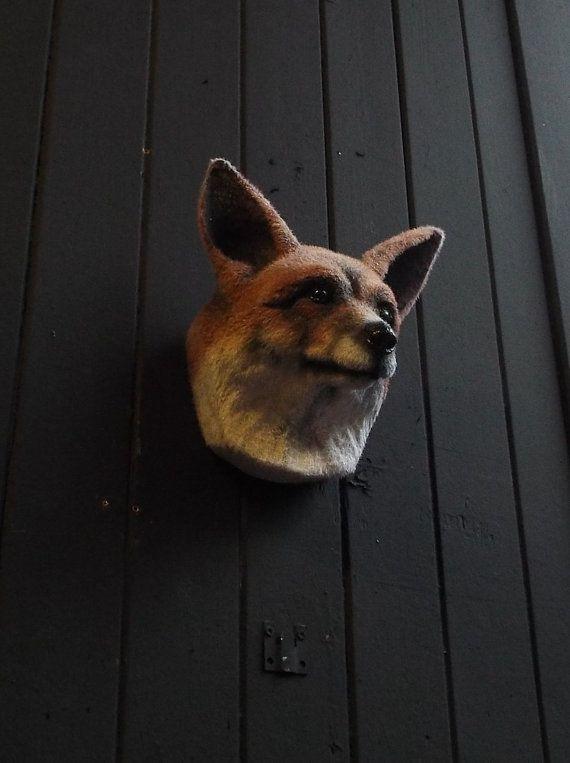 Faux Taxidermy Fox Head Animal Friendly Decorative Art Handmade in Wales, Great Britain Life Size