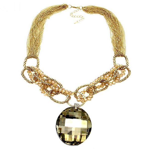 Luxury Big Size Oval Crystal Glass Pendant Necklace - Arista Gems