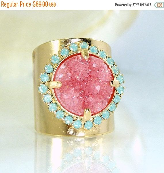 Pink Stone Ring, Pink Druzy Ring, Gift for her, Cocktail Ring, Pink & Mint, Wide Band Ring, Druzy Jewelry, Unique Design By Inbal mishan.  Beautiful