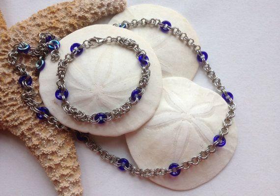 Mykonos  Bracelet and Necklace Set by JewelrybySacredArt on Etsy, $45.00