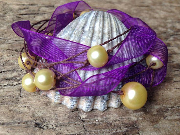 Purple Ribbon Glamor Handmade Bracelet with Gold Pearl Beads by EffyBuu on Etsy