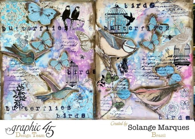 Solange Marques: Graphic 45 Art Journal: Birds and Butterflies: