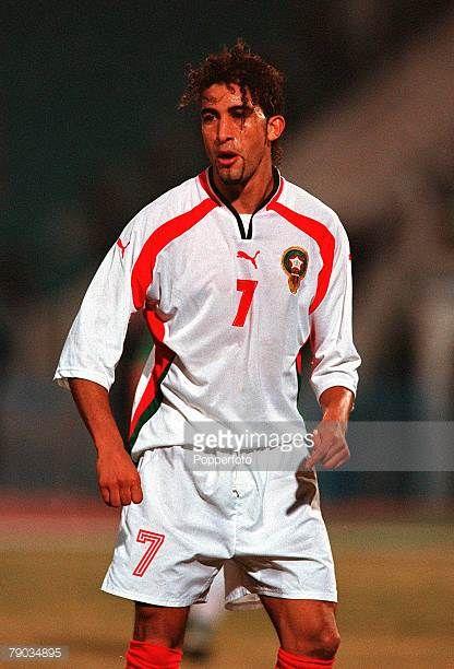 Football 2002 World Cup Qualifier African Second Round Group C 28th January 2001 Cairo Egypt Egypt 0 v Morocco 0 Moroccos Moustafa Hadji