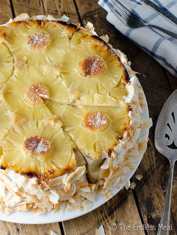 Frosted Coconut Pineapple Upside Down Cake