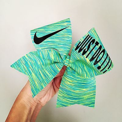 Just do It Spandex Cheer Bow Nike Blue Green Yellow Pattern Spandex Cheerbow | eBay