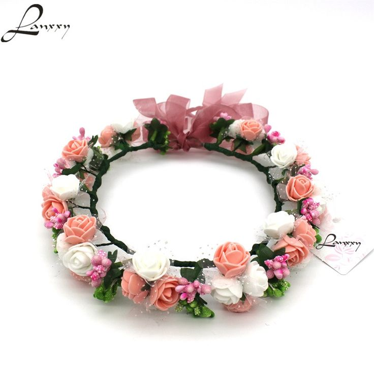Lanxxy новые женские свадебные ленты для волос Цветы волос Аксессуары Цветочные Корона для девочек Летние головные уборы мода оголовье