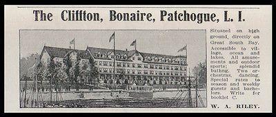 Patchogue LI 1915 Clifton Hotel Bonaire Great South Bay NY Photo Print AD