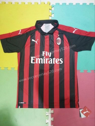 af78be3e6 2018-19 AC Milan Home Red and Black Thailand Soccer Jersey AAA ...