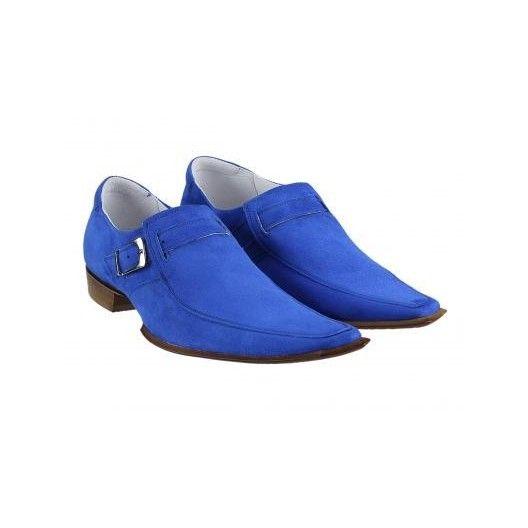 Pánske kožené extravagantné topánky modré PT036 - manozo.hu