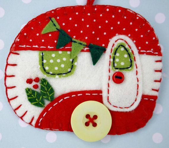 Felt Christmas Ornament Vintage Trailer by Etsy Artist PuffinPatchwork, no pattern
