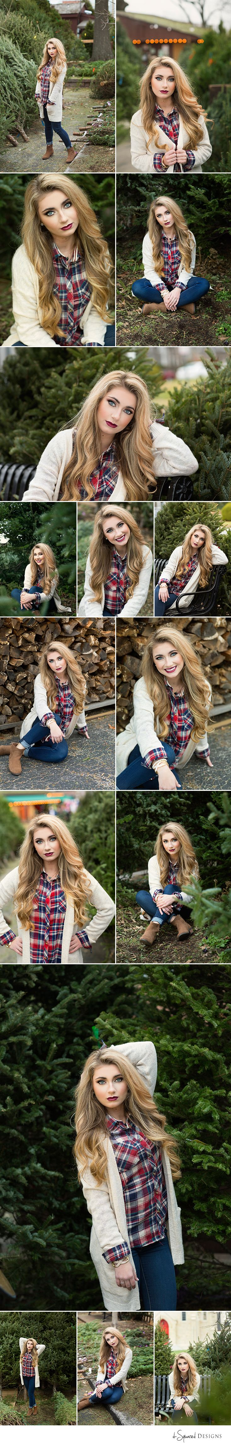 d-Squared Designs St. Louis, MO Senior Photography. Tree farm session. Tree farm senior session. Winter senior.