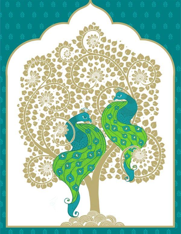 Wedding Invite, Kalamkari style, two peacocks