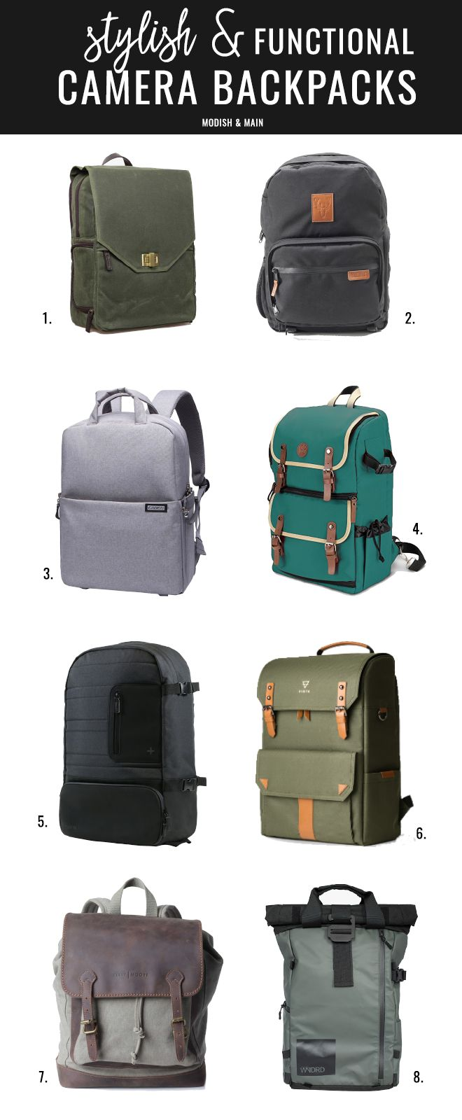 Find the perfect camera backpack for the adventurous photographer with these 8 selections. They're stylish, yet have tons of functionality! Click to learn more about the camera backpacks or pin to save for later. | Modish and Main