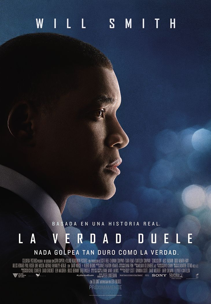 Primer póster en español de 'La verdad duele (Concussion)'.