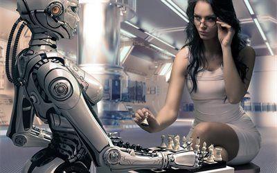 Scarica sfondi robot, il bianco muove, ragazza, scacchi