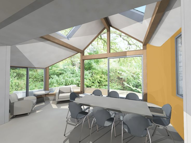 Sunroom/ curved wall/ Farrow and Ball/ Sudbury Yellow 51