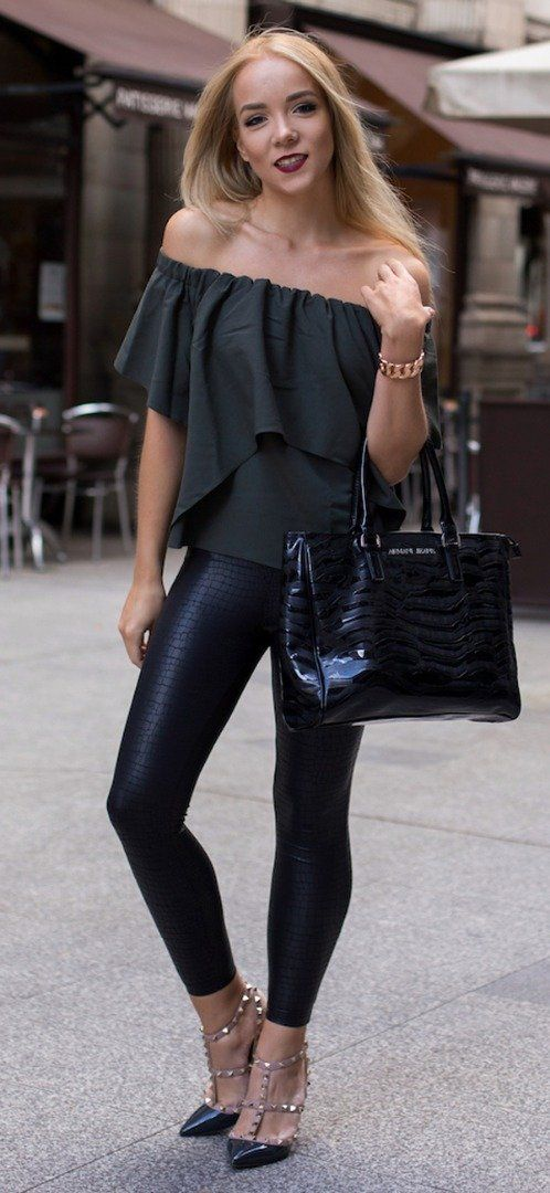 Sexy leather leggings + off shoulders top