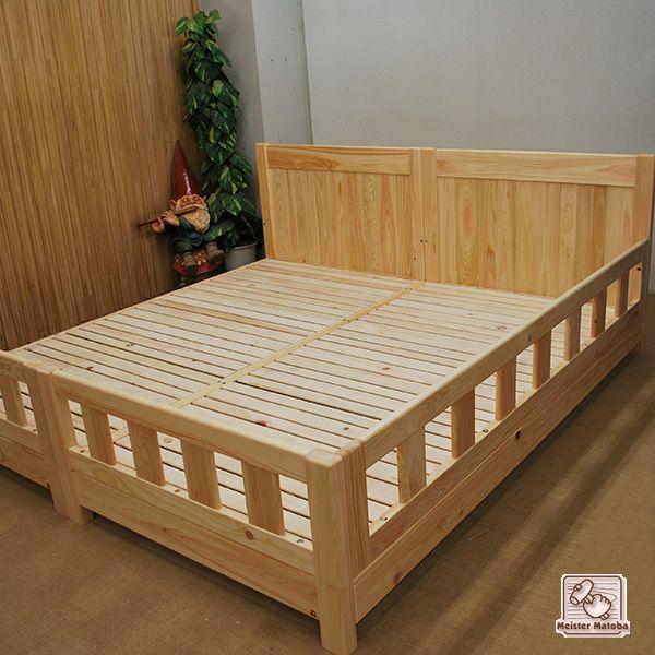 シングルベッド2台と柵で子供の転倒防止に
