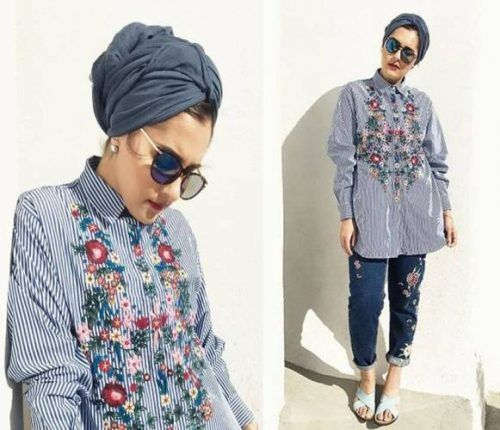 striped floral embroidered blouse- The most trending hijab items – Just Trendy Girls