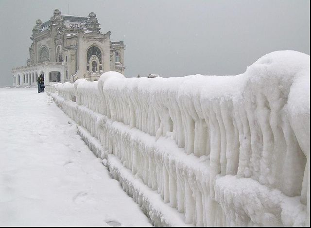 Constanța Casino, Romania. I like winter, but I don't know if I want it this cold.