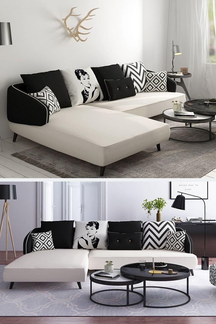 Small L Shape White Black Sofa Couch Living Room Mobilya Koltuklar Kanepeler