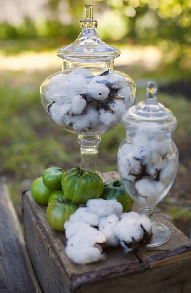 rustic green wedding - cotton plant decor