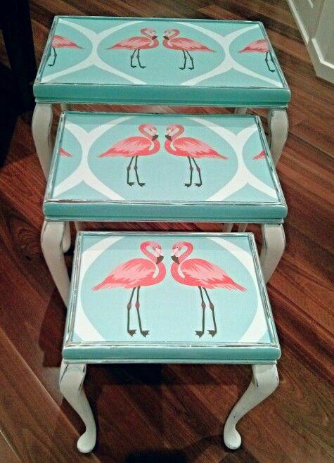 Queenie Flamingo Trio of tables- my favourite makeover so far !! #flamingos