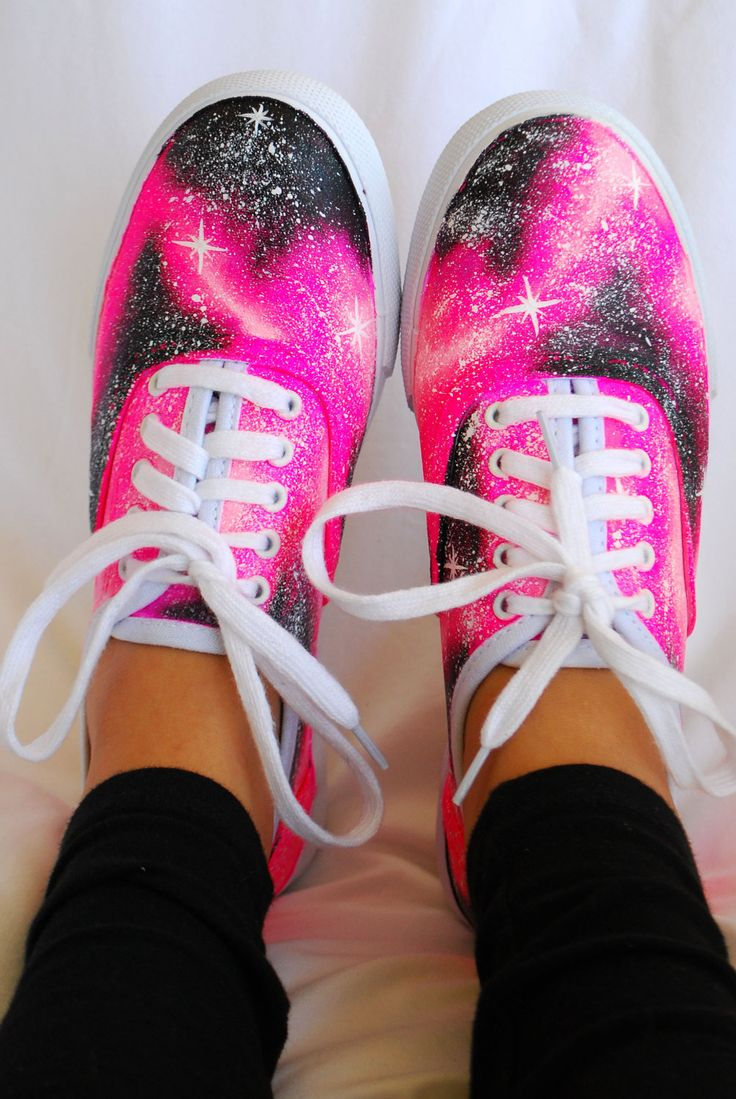 pink galaxy shoes from littleartmonsterr