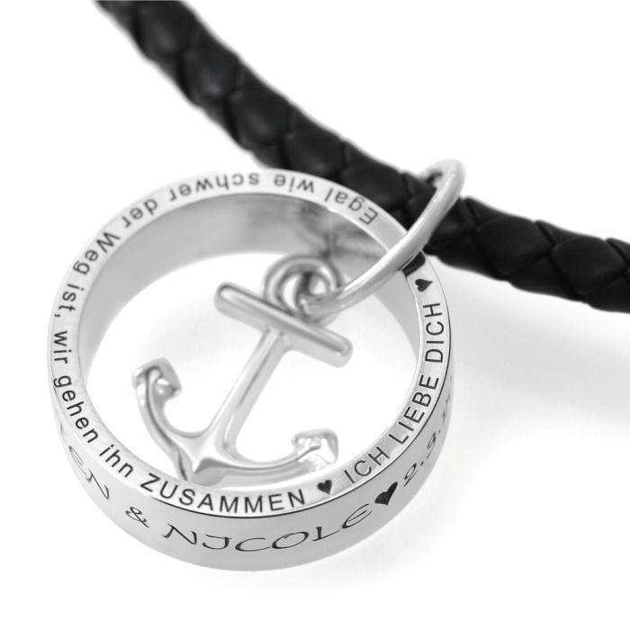 Kette Mit Ring Gravur Namenskette Anhanger Ring Anker In 2020 Herren Kette Kette Mit Ring Kette Gravur